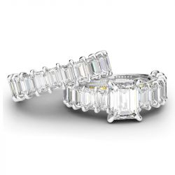 Jeulia Two Tone Scrollwork Emerald Cut Sterling Silver Ring Set