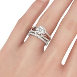 Jeulia Two Tone Halo Round Cut Sterling Silver Ring Set