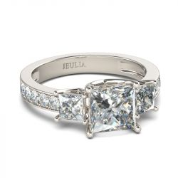 Jeulia Simple Three Stone Princess Cut Sterling Silver Ring