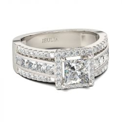 Jeulia Contemporary Design Princess Cut Sterling Silver Ring
