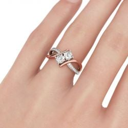 Jeulia Two Stone Crossover Round Cut Sterling Silver Ring
