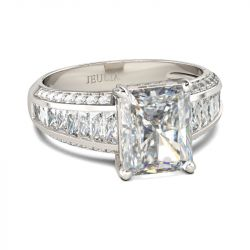 Jeulia Classic Radiant Cut Sterling Silver Ring
