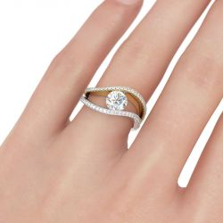 Jeulia Two Tone Wavy Round Cut Sterling Silver Ring