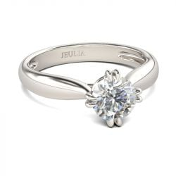 Jeulia Classic Round Cut Sterling Silver Ring