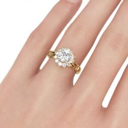 Jeulia Gold Tone Halo Round Cut Sterling Silver Ring