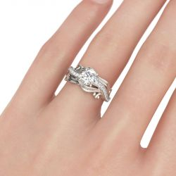Jeulia Leaf Round Cut Sterling Silver Ring