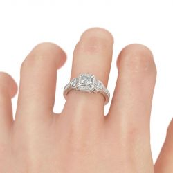 Jeulia Halo Heart Design Princess Cut Sterling Silver Ring
