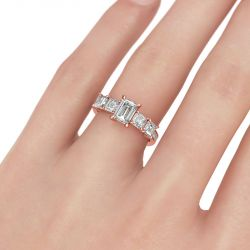 Jeulia Rose Gold Tone Emerald Cut Sterling Silver Ring