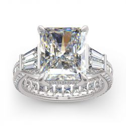 Jeulia Radiant Cut Eternity Sterling Silver Ring