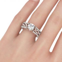 Jeulia Twisting Two Tone Sterling Silver Ring