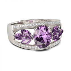 Jeulia Leaf Shape Oval Cut Amethyst Engagement Ring