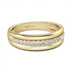 Jeulia Gold Tone Round Cut Sterling Silver Men's Band