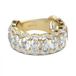 Jeulia Gold Tone Oval Cut Sterling Silver Women's Band