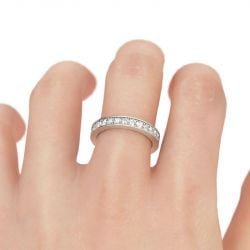 Jeulia Simple Channel Set Sterling Silver Women's Band