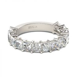Jeulia Bar Setting Princess Cut Sterling Silver Women's Band