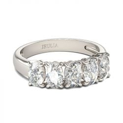 Jeulia Modern Oval Cut Sterling Silver Women's Band