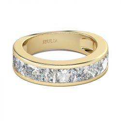 Jeulia Gold Tone Princess Cut Sterling Silver Women's Band