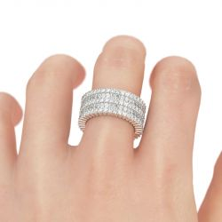 Jeulia Wide Radiant Cut Sterling Silver Women's Band