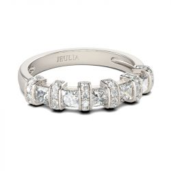 Jeulia Art Deco Princess Cut Sterling Silver Women's Band