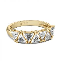 Jeulia Gold Tone Trillion Cut Sterling Silver Women's Band
