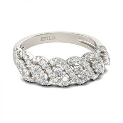 Jeulia Classic Round Cut Sterling Silver Women's Band