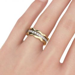 Jeulia Wavy Round Cut Sterling Silver 3PC Wedding Band