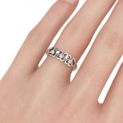 Jeulia Linked Heart Sterling Silver Women's Band