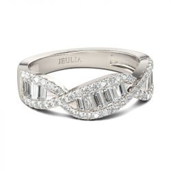 Jeulia Twist Baguette Cut Sterling Silver Women's Band
