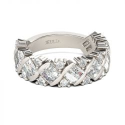 Jeulia Contemporary Design Baguette Cut Sterling Silver Women's Band