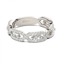Jeulia Twist Radiant Cut Sterling Silver Women's Band