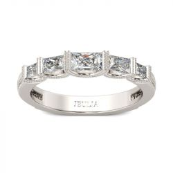 Jeulia Milgrain Radiant Cut Sterling Silver Women's Band
