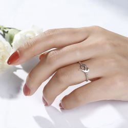 Jeulia Logo Shape Commemorative Women's Sterling Silver Open Ring