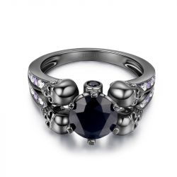 Jeulia Round Cut Sterling Silver Four-Skull Design Women's Ring