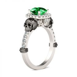 Halo Cushion Cut Emerald Sterling Silver Skull Ring