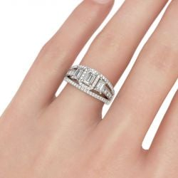 Jeulia  Three Stone Halo Emerald Cut Sterling Silver Ring