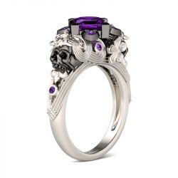 Jeulia  Flower Design Princess Cut Sterling Silver Skull Ring