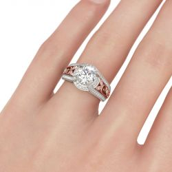 Jeulia  Two Tone Scrollwork Round Cut Sterling Silver Ring