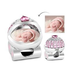 Baby's Pink Pram Photo Charm Sterling Silver