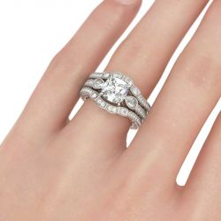 Jeulia  Three Stone Cushion Cut Sterling Silver 3PC Ring Set