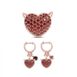 Jeulia Rose Gold Tone Heart Sterling Silver Set