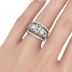 Jeulia  Three Stone Scrollwork Radiant Cut Sterling Silver Ring Set