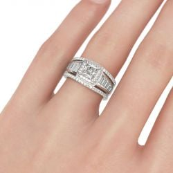 Jeulia  Double Halo Princess Cut Sterling Silver 3PC Ring Set