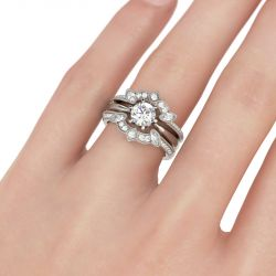 Jeulia Vintage Sterling Silver Enhancer Ring Set