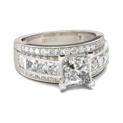 Jeulia Classic Princess Cut Sterling Silver Ring