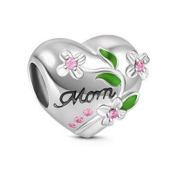 Flower Heart Shape Charm Sterling Silver