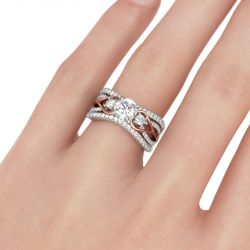 Jeulia  Two Tone Three Stone Round Cut Sterling Silver Ring Set