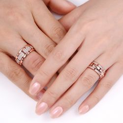 Jeulia Art Deco Round Cut Sterling Silver Band Set
