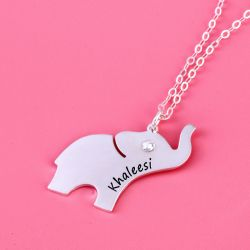 Jeulia Elephant Engraved Necklace with Birthstone Sterling Silver