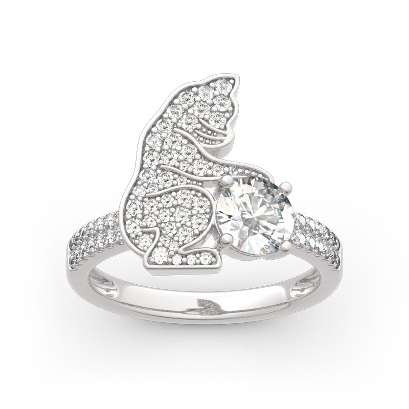 Hug Me collection cat silver ring