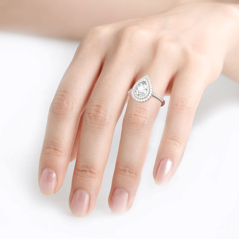 Jeulia Double Halo Pear Cut Sterling Silver Ring